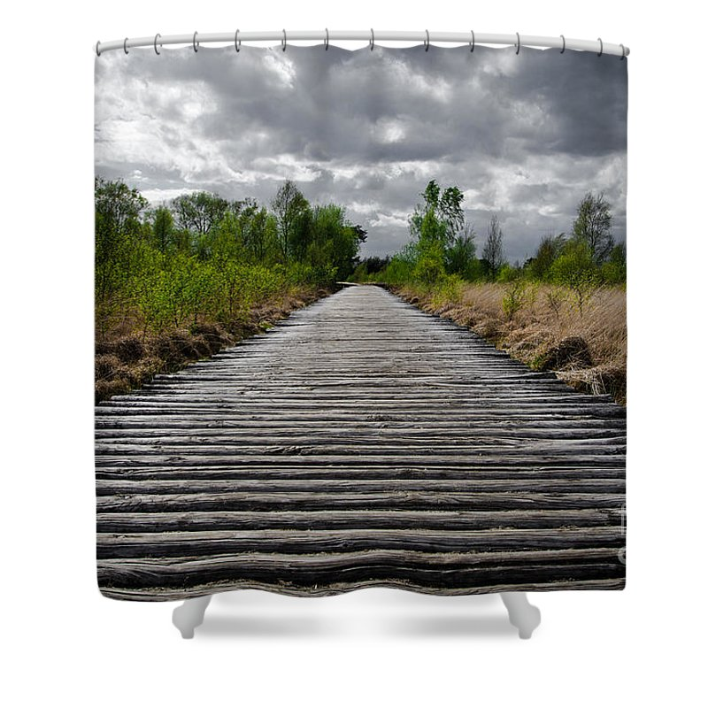 Heathland Shower Curtain featuring the photograph Wooden Path by Brothers Beerens