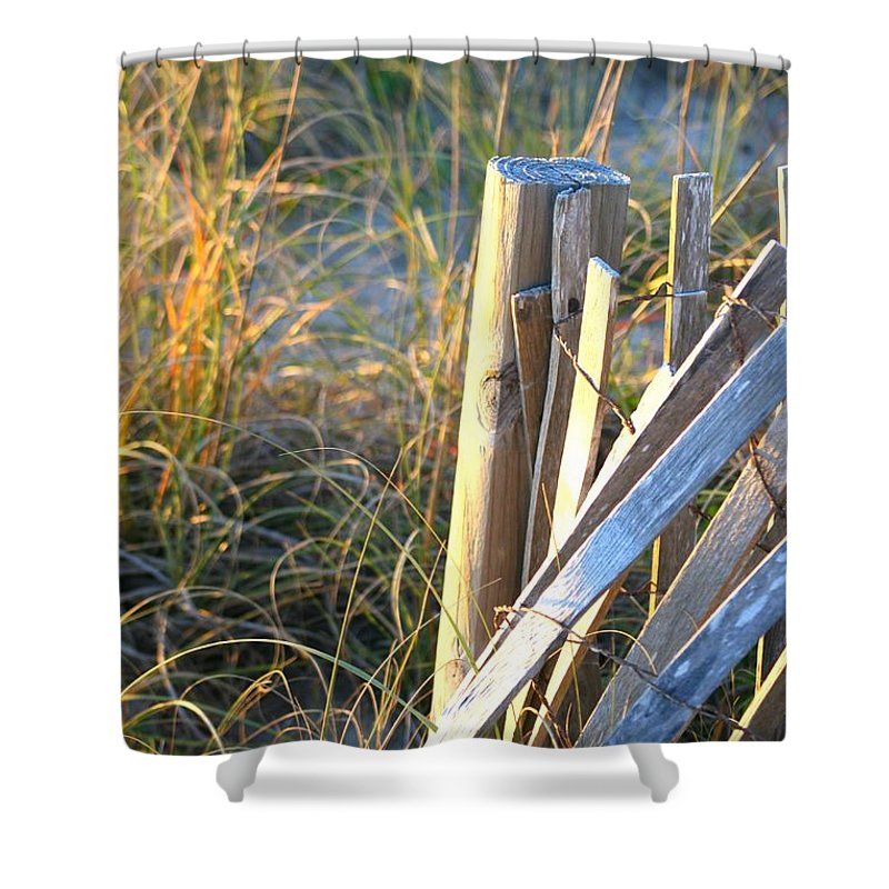 Post Shower Curtain featuring the photograph Wooden Post And Fence At The Beach by Nadine Rippelmeyer