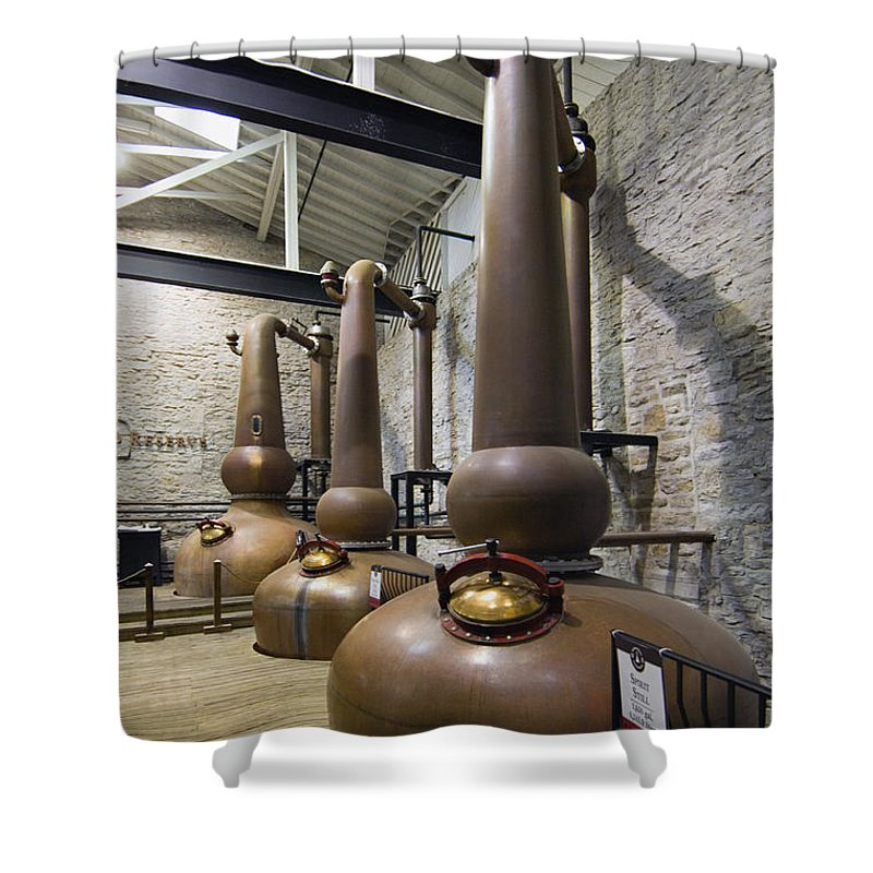 Copper Shower Curtain featuring the photograph Woodford Reserve Copper Spirit Stills - D008775a by Daniel Dempster