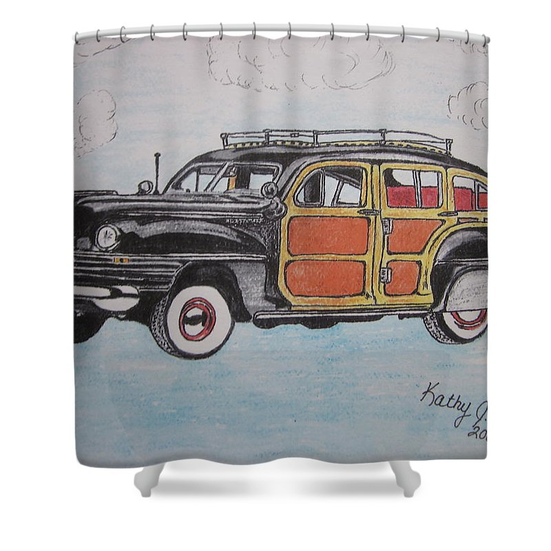 Woodie Shower Curtain featuring the painting Woodie Station Wagon by Kathy Marrs Chandler