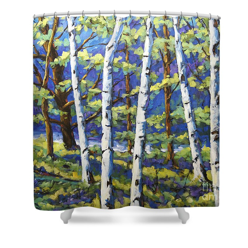 Canadian Landscape Created By Richard T Pranke Shower Curtain featuring the painting Woodland Birches by Richard T Pranke