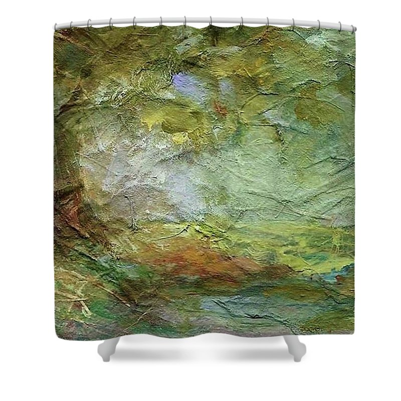 Textured Landscape Shower Curtain featuring the painting Woodland Impressions by Mary Wolf