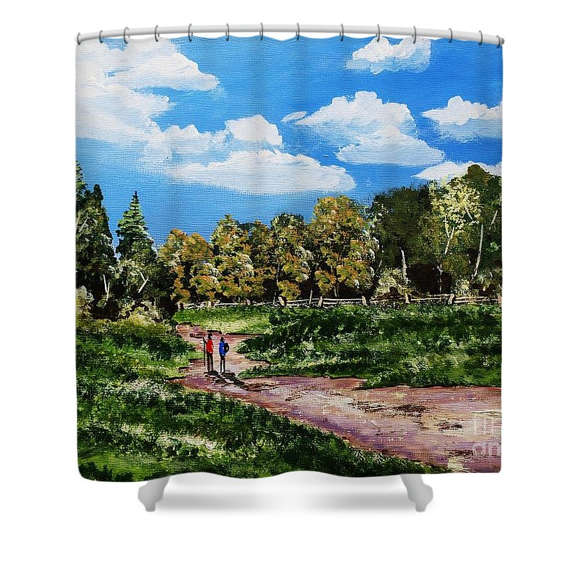 Forest Shower Curtain featuring the painting Woodland Stroll by Corina Hogan