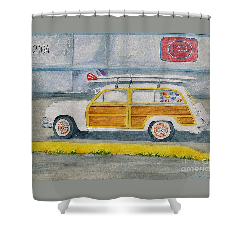 Woody Paintings Shower Curtain featuring the painting Woody by Regan J Smith