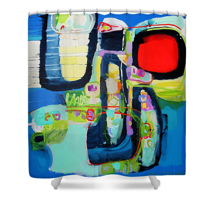 Abstract Shower Curtain featuring the painting Work It Out by Claire Desjardins