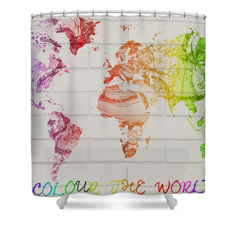Water Shower Curtain Featuring The Digital Art World Map Watercolor Splash On A Brick Wall By