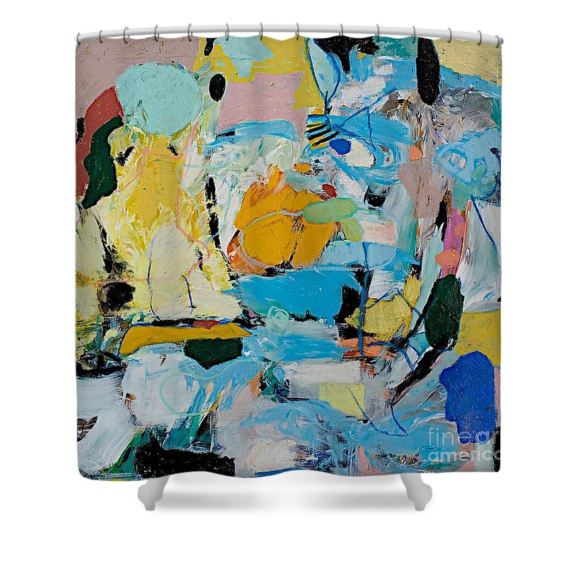 Landscape Shower Curtain featuring the painting World Of Action by Allan P Friedlander