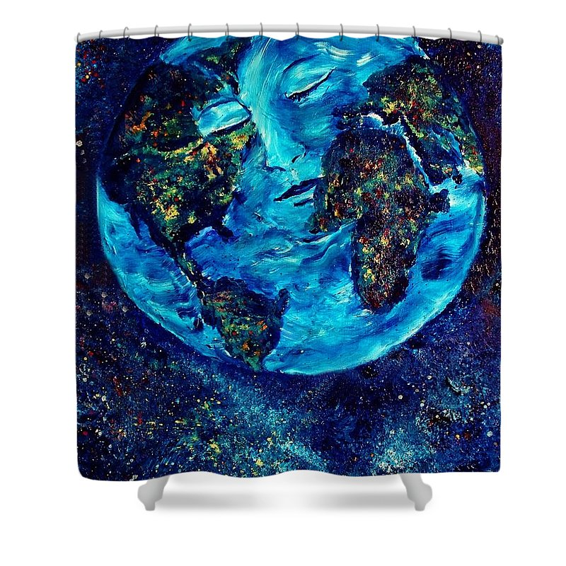 World Shower Curtain featuring the painting World Peace by Robin Monroe