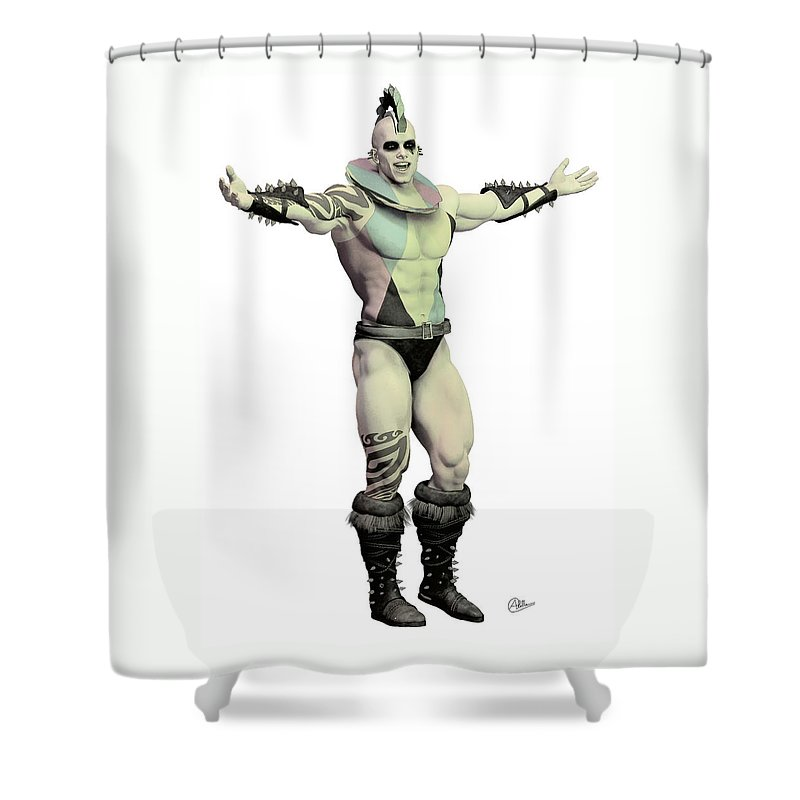 Tightrope Shower Curtain featuring the painting World's Strongest Man Circus by Quim Abella