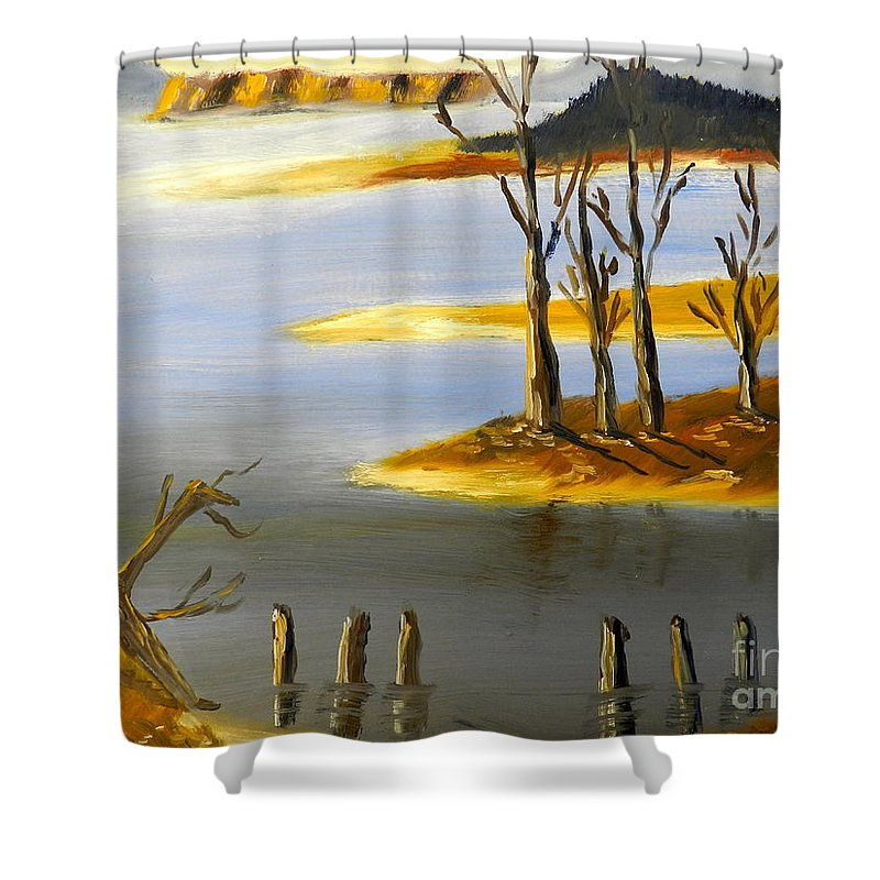 Impressionism Shower Curtain featuring the painting Woronorda Dam by Pamela Meredith