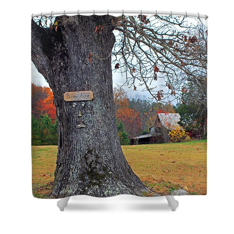 Barn Shower Curtain featuring the photograph Worried Tree by Jennifer Robin