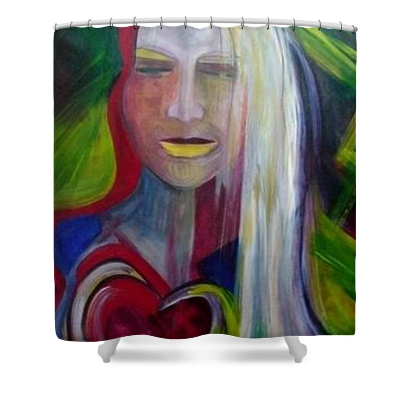 Portrait Shower Curtain featuring the painting Wounded by Carolyn LeGrand