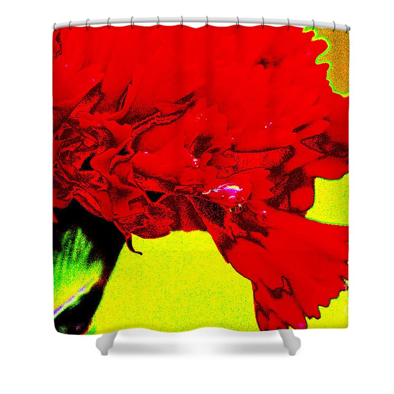 Abstract Shower Curtain featuring the digital art Wow Carnation by Carol Lynch