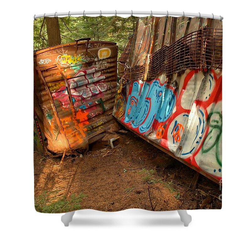 Train Wreck Shower Curtain featuring the photograph Wrecked Whistler Trains by Adam Jewell