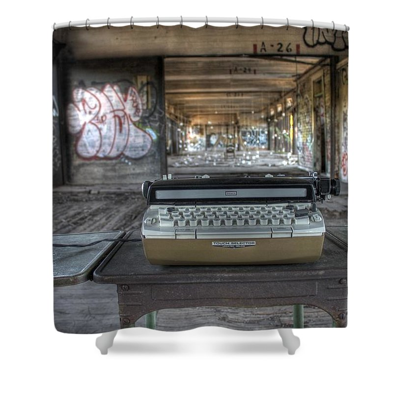 Typewriter Shower Curtain featuring the photograph Writers Block by Jane Linders