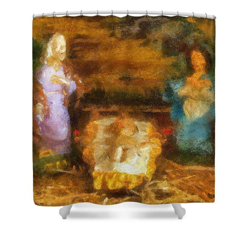 Baby Jesus Shower Curtain featuring the photograph Xmas Baby Jesus Photo Art by Thomas Woolworth