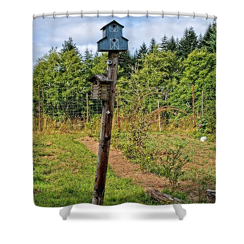 Birdhouse Shower Curtain featuring the photograph Yachats Oregon - Blue Birdhouse by Image Takers Photography LLC