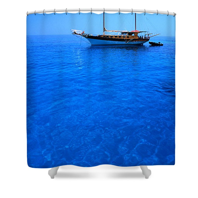Freight Transportation Shower Curtain featuring the photograph Yacht Anchored In The Spectacular by Dallas Stribley