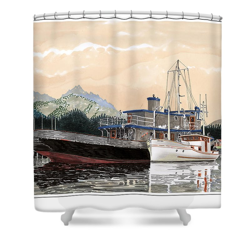 Yacht Portraits Shower Curtain featuring the painting Alaskan Sunrise by Jack Pumphrey
