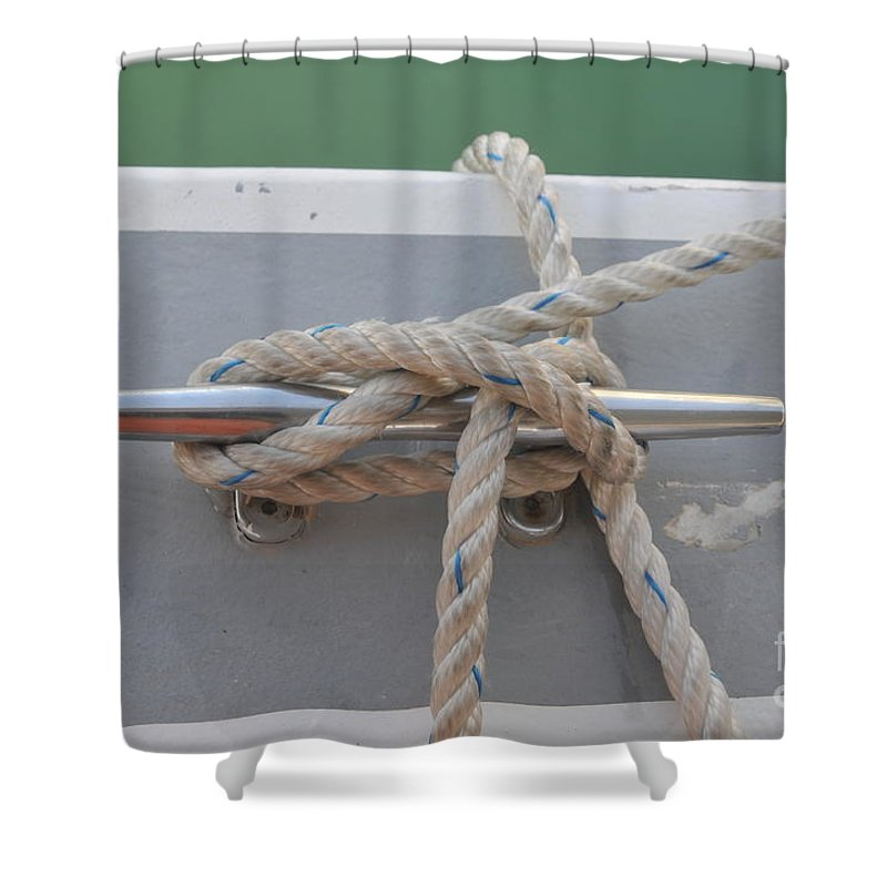 Yacht Shower Curtain featuring the photograph Yacht Secured To A Jetty by Shay Levy