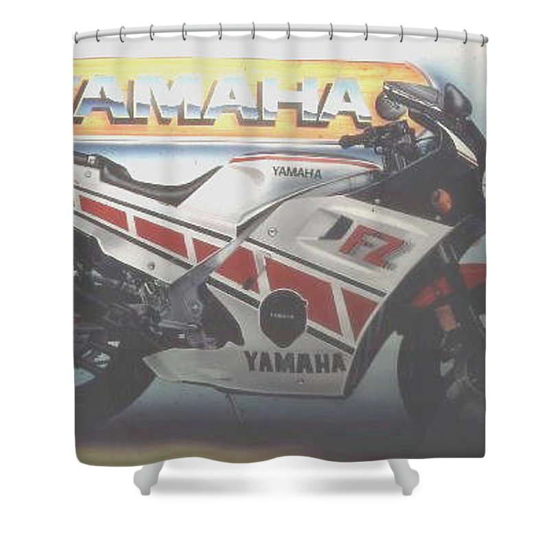 Shower Curtain featuring the painting Yamaha-084 by Keith Spence