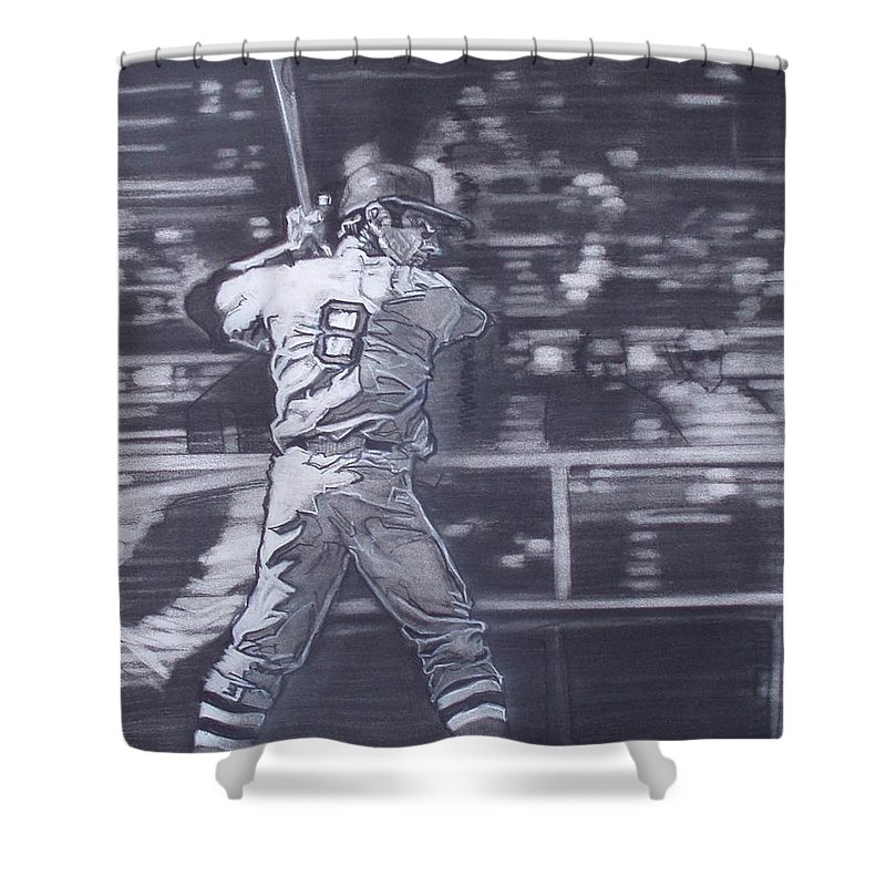 Charcoal Shower Curtain featuring the drawing Yaz - Carl Yastrzemski by Sean Connolly