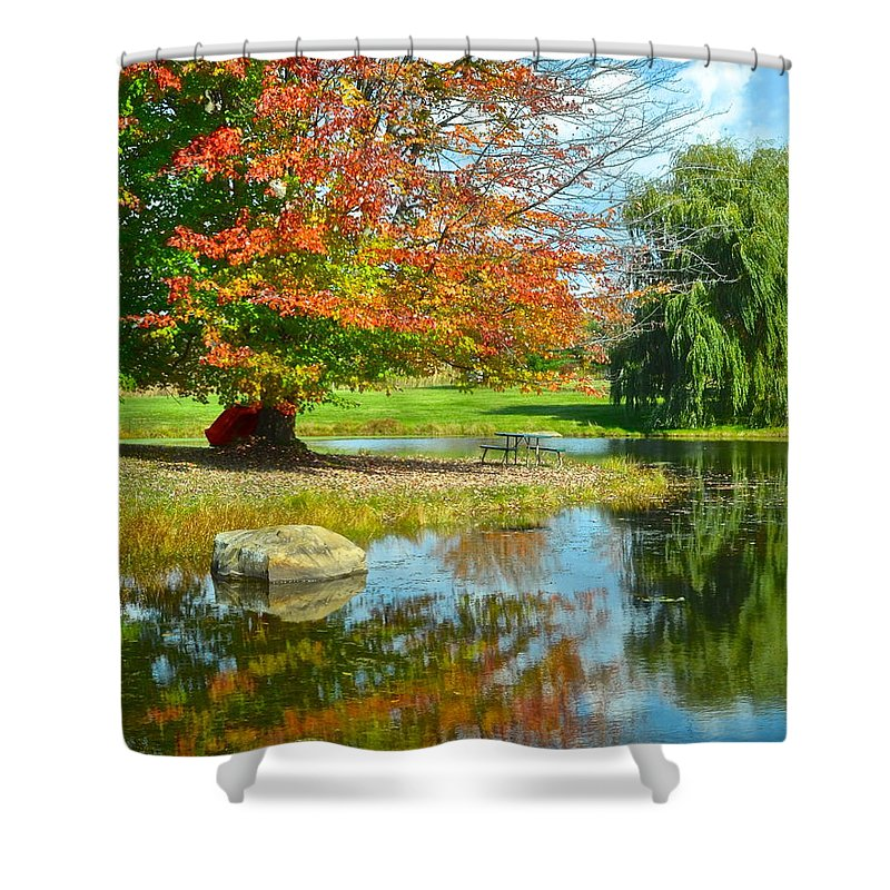 Yellow Shower Curtain featuring the photograph Yellow And Blue Make Green by Frozen in Time Fine Art Photography