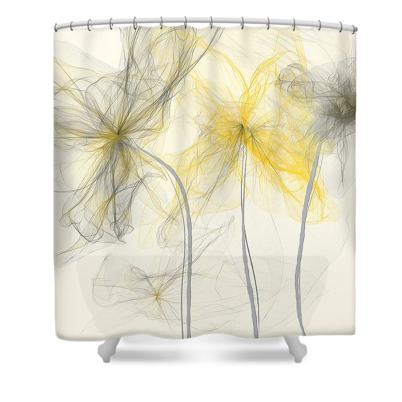Yellow And Gray Flowers Impressionist Shower Curtain For