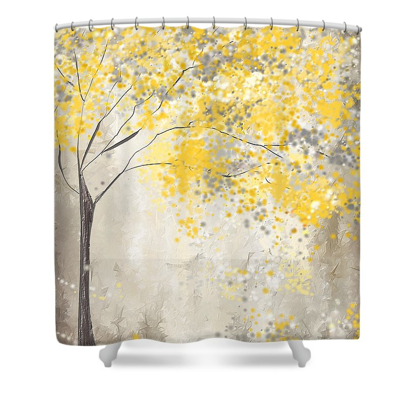 Perfect Yellow Shower Curtain Featuring The Painting Yellow And Gray Tree By Lourry  Legarde