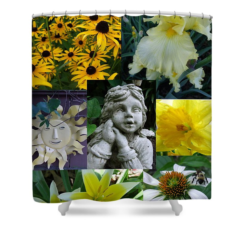 Yellow Shower Curtain featuring the photograph Yellow And White Flower Collage by Erin Rednour