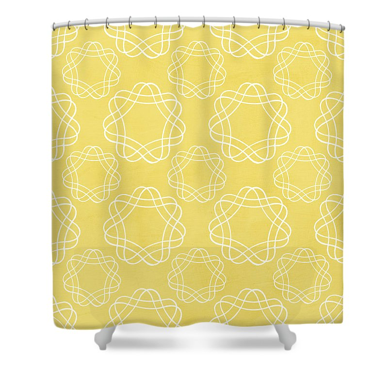 Yellow Mixed Media Shower Curtains