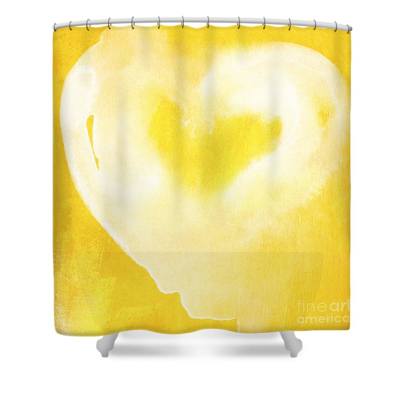 Love Shower Curtain featuring the mixed media Yellow and White Love by Linda Woods