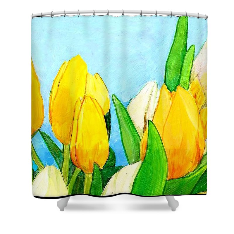 Tulip Shower Curtain featuring the painting Yellow And White Tulips by Jim Harris
