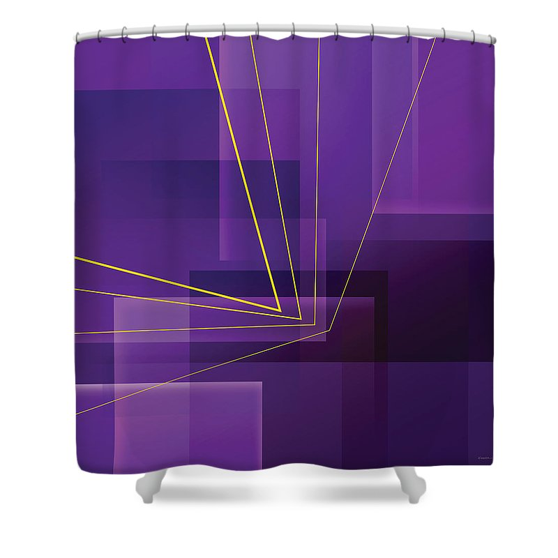 Abstract Shower Curtain featuring the digital art Yellow Angles Through Purple Landscape by James Kramer
