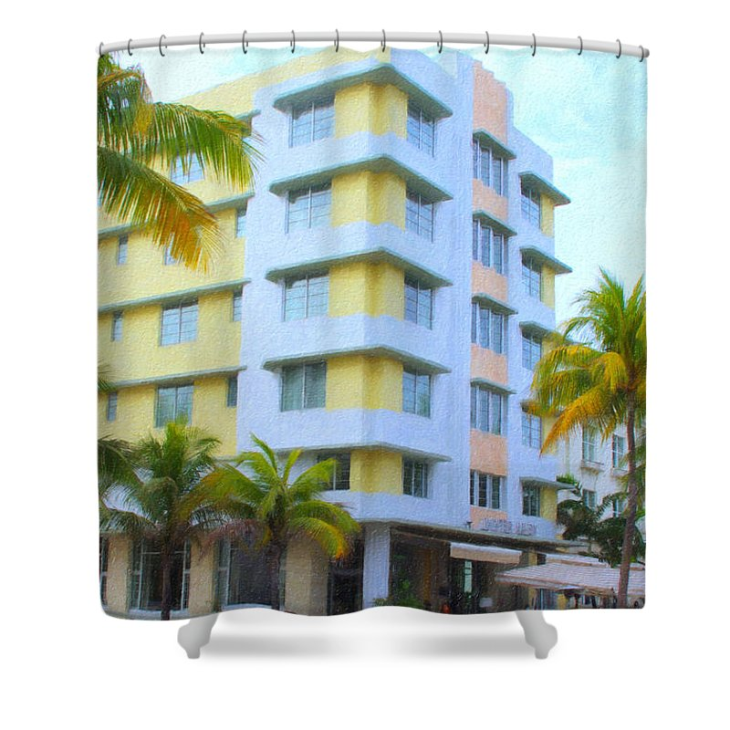 Art Deco Shower Curtain featuring the photograph Yellow Corvette by Tom Reynen