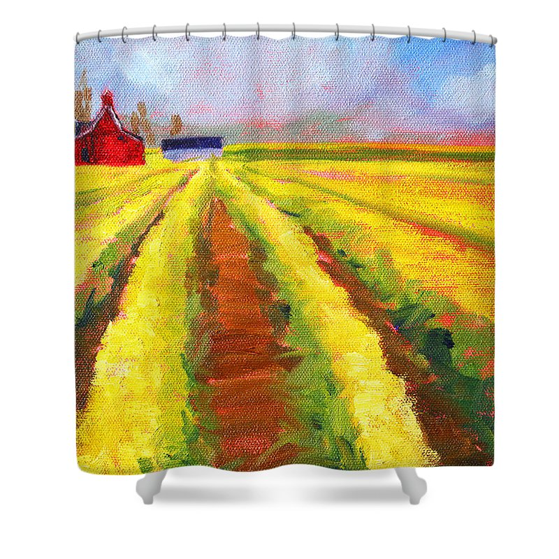 Yellow Shower Curtain featuring the painting Yellow Field Landscape by Nancy Merkle