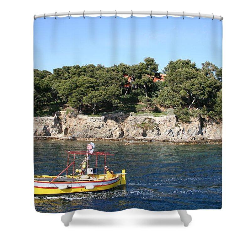 Fishing Boat Shower Curtain featuring the photograph Yellow Fishing Boat - Cote D'azur by Christiane Schulze Art And Photography