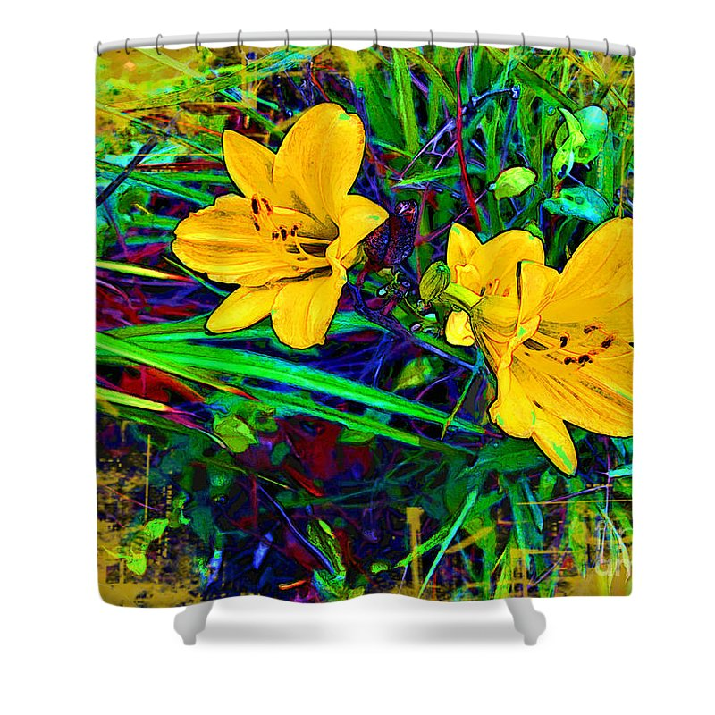 Yellow Flowers Shower Curtain featuring the photograph Yellow Flowers by Joan Minchak