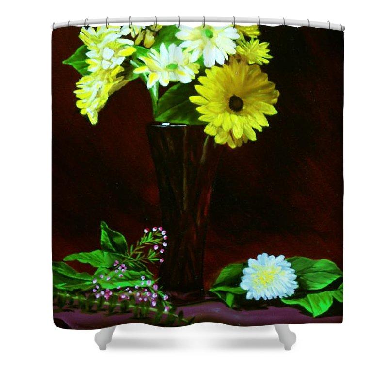 Gerbera Daisy Shower Curtain featuring the painting Yellow Gerbera by Paul Tremlin