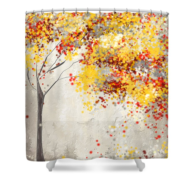 Red And Gray Shower Curtain Featuring The Painting Yellow By Lourry Legarde