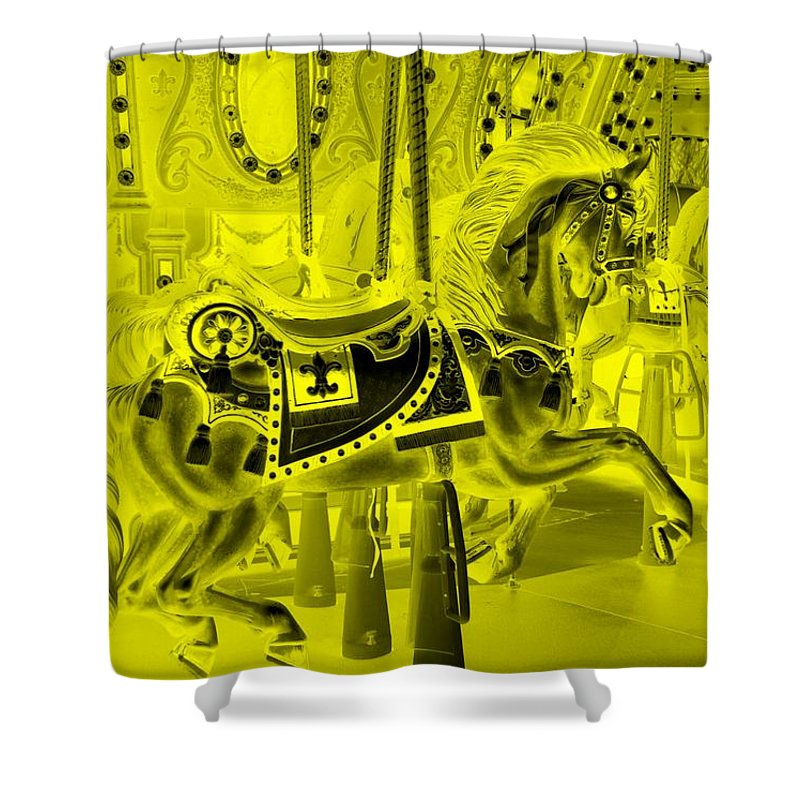 Carousel Shower Curtain featuring the photograph Yellow Horse by Rob Hans