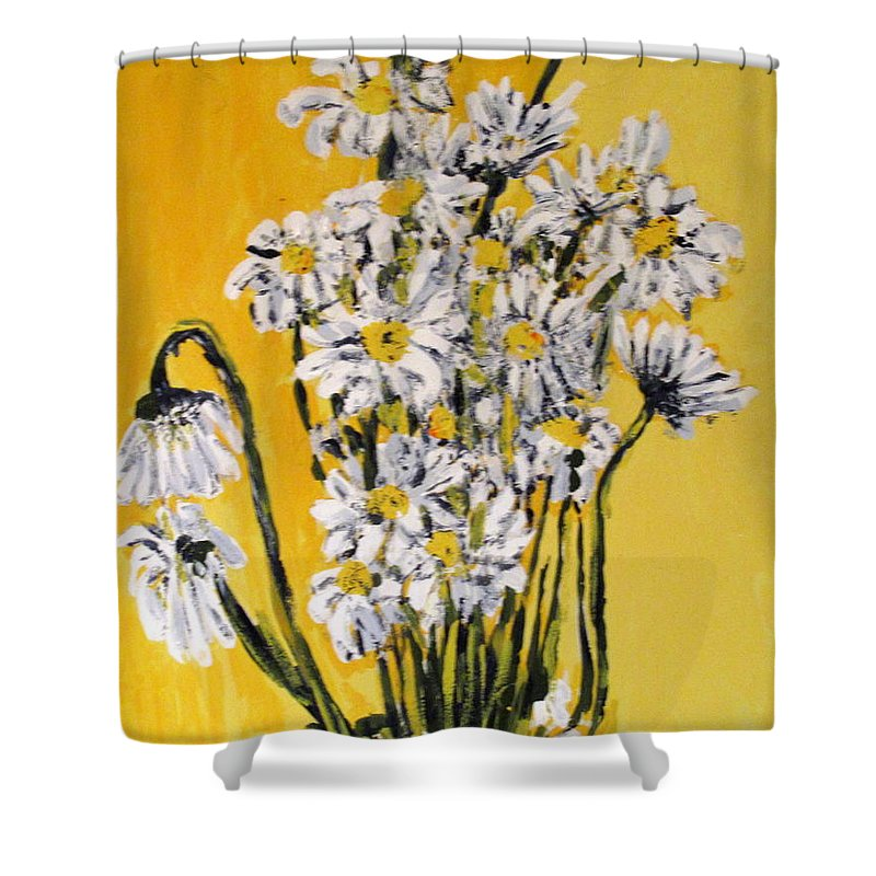 Daisy Shower Curtain featuring the painting Yellow by Ian MacDonald