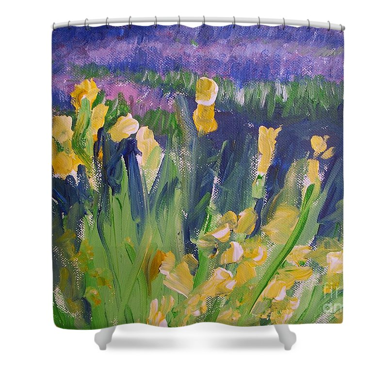 Provence Shower Curtain featuring the painting Yellow Iris by Eric Schiabor