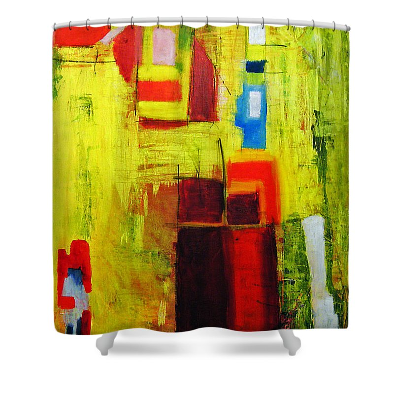 Abstract Painting Shower Curtain featuring the painting Yellow by Jeff Barrett