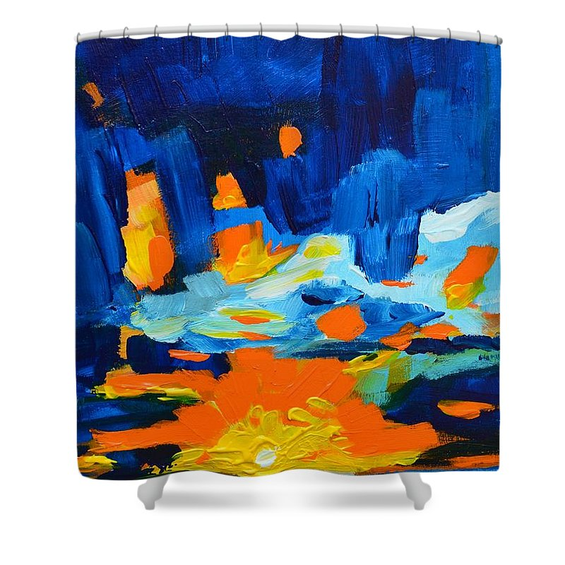 Art Shower Curtain featuring the painting Yellow Orange Blue Sunset Landscape by Patricia Awapara