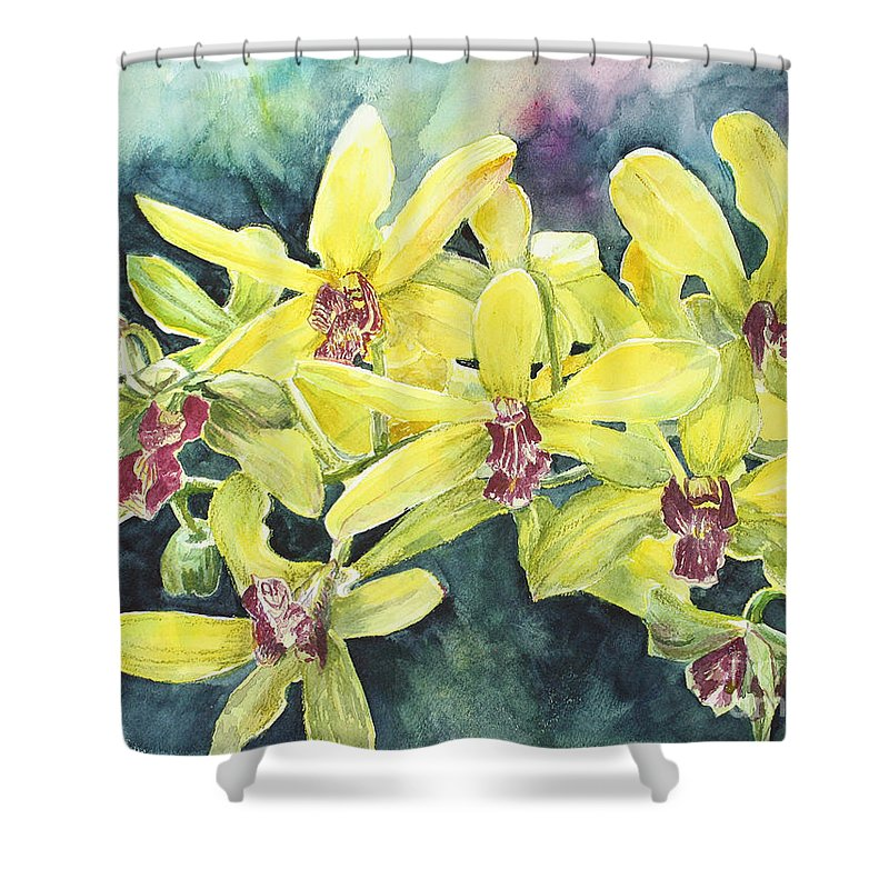 Yellow Shower Curtain featuring the painting Yellow Orchids by Janis Lee Colon