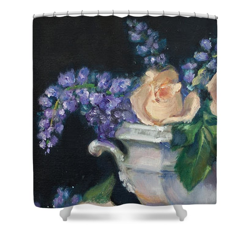 Yellow Shower Curtain featuring the painting Yellow Roses by Sarah Parks