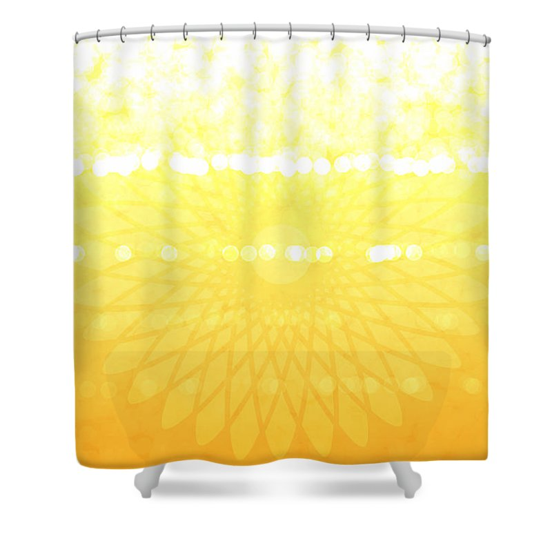 Sunny Day Shower Curtain featuring the digital art Yellow Spirograph by Chastity Hoff