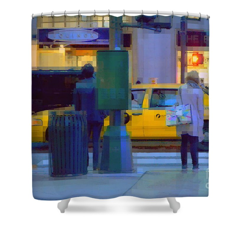 Traffic Shower Curtain featuring the photograph Yellow Taxi by Miriam Danar