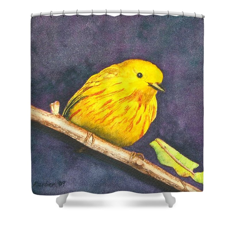 Warbler Shower Curtain featuring the painting Yellow Warbler II by Sharon Farber